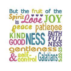 Galatians Fruit Applique Machine Embroidery Digital Design Spirit Verse Bible Jesus God Love Joy Peace Patience