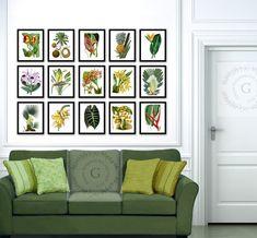 Palm Tree Art Botanical Prints Set of 15 Exotic Tropical Island Wall Decor Summer Wall Decor, Living Room Wall Prints Tropical Flowers Fruit