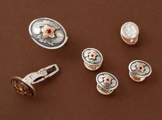 James Reid - 'Western Classic' engraved cufflinks and studs, Silver, 14k Gold & Rubies.