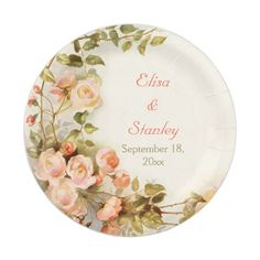 Vintage romantic painting of roses wedding paper plate