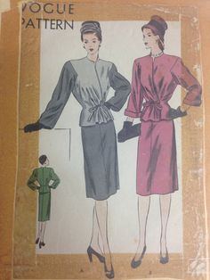 A personal favorite from my Etsy shop https://www.etsy.com/listing/235486059/vtg-40s-vogue-pattern-5514-sz-14-bust-32