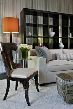 sitting room, guest bedroom, curtains, drapery, divider, couch, chair, ottoman, lamp, bookcase,