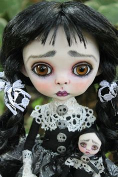 OOAK fairy tale Victorian goth Wednesday Addams art doll monster A. Gibbons