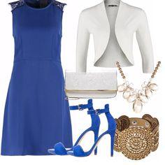 I matrimoni mettono sempre a dura prova i nervi di tutte noi. Proviamo con un look semplice! Un abito di un bel blu con la sua scarpa abbinata, accessori chiari bianco panna e oro per un look estivo. La particolarità? Una bella collana dorata per esaltare il tutto. Look semplice ma ricercato nei particolari.