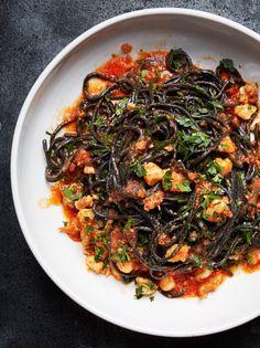 Squid Ink Pasta with Shrimp, Nduja, and Tomato Shrimp Recipes Easy, Seafood Recipes, Pasta Recipes, New Recipes, Favorite Recipes, Squid Ink Pasta, Shrimp Pasta, Rigatoni, Bon Appetit