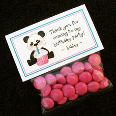 Personalized Birthday Party Favor Bag Label Set, Panda Bear with Cupcake, pink, set of 12 labels and bags. $4.50, via Etsy.