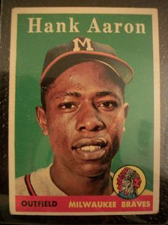 Hank Aaron Topps Baseball Card and ALL baseball cards!!!! Baseball Park, Braves Baseball, Baseball Players, Baseball Movies, Baseball Uniforms, Cardinals Baseball, Baseball Shirts, Football, Baseball Card Values