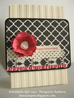 Fun Stampin' with Margaret, CCMC269 Sketch Challenge, Modern Medley DSP, Flower Shop, Teeny Tiny Wishes, , Strawberry Slush Ruffle Trim, Simply Pressed Clay.  Margaret Raburn