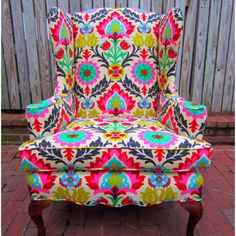 "patterned chair.  I am dying to have a few of these in my home when I ""grow up"". Beautiful, beautiful. I love the wide low chair type, but still very structured"