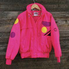 Vintage Obermeyer Neon Hot Pink Ski Jacket w Wild Color Blocks Disco W10 Medium