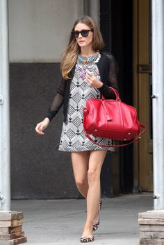 Olivia Palermo - printed dress with maxi collar and red bag
