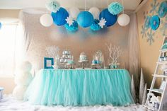 Tulle Table Skirt, Tutu Table skirt for Wedding, Birthday, Baby Shower- Custom Size and Color Optional baby birthday cloth Frozen Birthday Party, Frozen Party, 2nd Birthday Parties, Birthday Ideas, Snowflake Birthday Parties, Snowflake Party, Winter Birthday, Birthday Cakes, Birthday Invitations