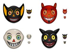 Vintage Halloween Kids Costume Mask Images: vintage bat face, devil face, ghost face mask and a black cat face image all vintage mask images in three sizes. Halloween Designs, Retro Halloween, Halloween Bat Decorations, Halloween Icons, Halloween Clipart, Halloween Ghosts, Halloween Costumes For Kids, Costumes Kids, Fall Decorations