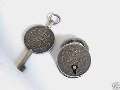 Old Padlocks and Keys | RestraintsBlog: Antique Victorian 1888 3Pence Working Padlock & Key