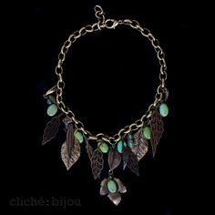 Eilat stone statement necklace, Natural stone charms, Bronze chain and leaves charms, Large chain and stones necklace