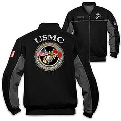 USMC Semper Fi Spirit Salute Personalized Men's Black Jacket