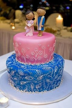 Pink and Blue Indian Themed Wedding Cake #shaadibazaar, #indianwedding