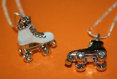 BEAUTIFUL ROLLER SKATE BOOT NECKLACE WITH CRYSTAL DECORATED WHEELS