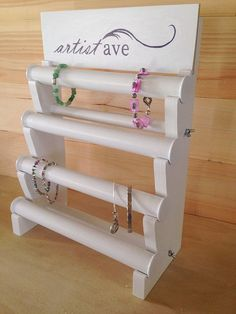 Bracelet Display 4 Tiers with Sign by JessiesWoodworking on Etsy
