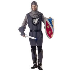 Valiant Knight Adult Costume - Outfit includes a Grey tunic with faux-chain-mail sleeves and screen-printed dragon emblem, Grey gloves and faux-chain-mail hood. Black boot covers also included. Medium (40-42).