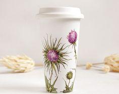 Ceramic Eco-Friendly Travel Mug - Thistles, Botanical Collection - made to order