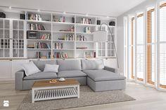 Rodzinne Pastele - Średni salon z bibiloteczką, styl skandynawski - zdjęcie od EG projekt