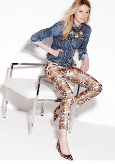 Denim jacket, patterned skinnies and statement necklace