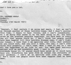myimaginarybrooklyn:    Virginia Woolf's suicide note to her husband Leonard before drowning herself.