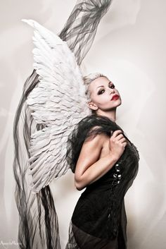adrienne beacco photography , dark angel , angel , apple , black , angel wings , wings , photoshop , studio photography , studio , makeup , halloween , halloween makeup , digital art , beauty , gorgeous , black and white , red lips , pretty face , portrait , tulle , white hair