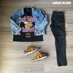 """OUTFITGRID® on Instagram: """"Today's top Outfitgrid is by @bren.in.den. ▫️ #BornxRaised x #Lakers #Tee ▫️ #NikeSB #GoofyBoy #Dunk ▫️ #YSL #Denim ▫️ #UO #DenimJacket"""""""
