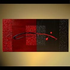 Original abstract art paintings by Osnat - black and red painting