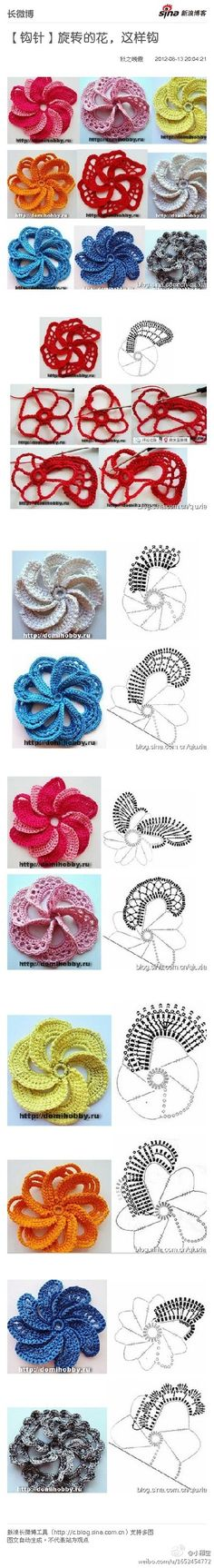 Irish Crochet Flower (chart + tutorial) by tonya. Crochet Diy, Freeform Crochet, Crochet Chart, Love Crochet, Crochet Motif, Irish Crochet, Crochet Stitches, Spiral Crochet, Crochet Diagram