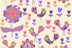 #flowers #floral #seamless #pattern #doodle #birds #animals #coo #sing #flora #fauna #nature #abstract #cartoons #garden #summer #spring #tile #tileable #background