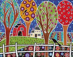 folk art landscapes - color and pattern