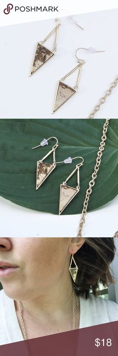 """NWT    Gold Natural Stone Triangle Drop Earrings Gold Natural Stone Triangle Drop Earrings. Natural Stones may vary in color. Length: Approx 2"""". Price is firm unless bundled. Bundle 4 or more and save 20%. Jewelry Earrings"""