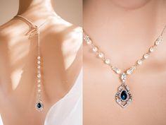 Sapphire Backdrop Pearl necklace, Bridal necklace,Swarovski Bridal jewelry Maria