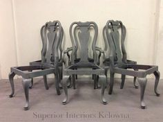 """Custom furniture refinishing in Kelowna BC-Dining Chair Makeover using Trainstation and Burlap """"washed"""" finish"""