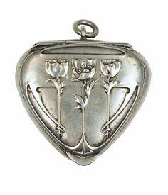 An art nouveau silver locket pendant (n.d.)