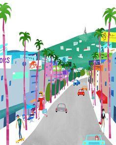 Boulevards, Sunset Strip. Limited edition print.  Los Angeles Posters, Sunset Strip Poster, Art