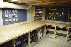The YHL basement workshop has lots of space for storage, tool organization, and work surface.