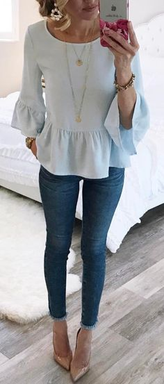 #summer #outfits White Peplum Top + Skinny Jeans + Nude Pumps // Shop this exact outfit in the link