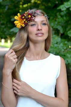 Autumn headband woodland bridal halo fall crown flowers Yellow burgundy hair piece Autumn floral crown wedding fall headband brde wreath  Ready to ship This bright crown is a wonderful addition to the image of the bride or bridesmaids. You can also order a boutonniere for the groom to the this crown.  Shades of autumn and fall berries.  Perfect for Woodland wedding, rustic wedding, forest and boho style Each element is woven into the wreath with floral tape. Wreaths size is controlled by… Floral Crown Wedding, Bridal Crown, Bridal Hair, Floral Crowns, Bride Headband, Fall Headband, Flower Headbands, Crown Headband, Woodland Wedding