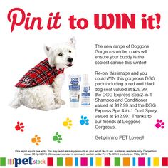 Re-pin this image to one of your boards and you could WIN this dog coat and grooming pack thanks to our friends at Doggone Gorgeous. The coat I could win to give to the animal aid for one of our dogs who need coats to keep warm