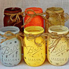 Fall Mason Jars Vases by ThisShabbyHouse on Etsy, $34.95