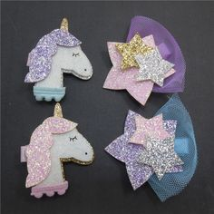 2017 New Girls Hair Clips Kids Hairpins Cute Felt Glitter Stars Unicorn Hair Barrettes Children Kids Hair Accessories Kids Hair Clips, Felt Hair Clips, Hair Barrettes, Hairbows, Elastic Headbands, Baby Headbands, Felt Crafts, Diy Crafts, Diy Hairstyles
