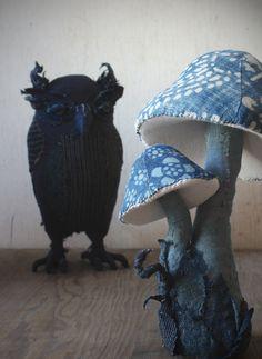 indigo owl toadstool by Ann Wood Mushroom Crafts, Mushroom Art, Textile Sculpture, Soft Sculpture, Ann Wood, Wood Owls, Sewing Art, Soft Dolls, Textile Artists