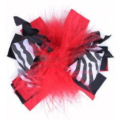 Hair Bows : Zebra and Red Princess Puff Hair Bow  girls hair, wholesale bows, hair clips, hair accessories for girls, wholesale girls $1.99