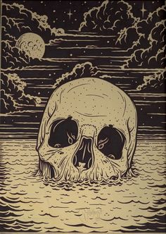 Skull of Sea - Mike Giant Mike Giant, Art And Illustration, Creative Illustration, Art Noir, Arte Horror, Inspiration Art, Skull Tattoos, Art Tattoos, Skull And Bones