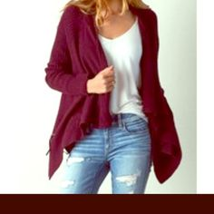 American Eagle Burgundy Open Knit Cardigan Never worn burgundy loose knit flyaway cardigan, longer in front. This is a very loose knit with an almost handknit look.No closures. Long sleeves. Not worn or washed yet. American Eagle Outfitters Sweaters Cardigans