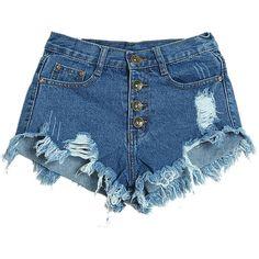 Deep Blue Cut Out Denim Short (€21) ❤ liked on Polyvore featuring shorts, bottoms, zipper shorts, denim short shorts, dark blue shorts, cotton shorts and patterned shorts